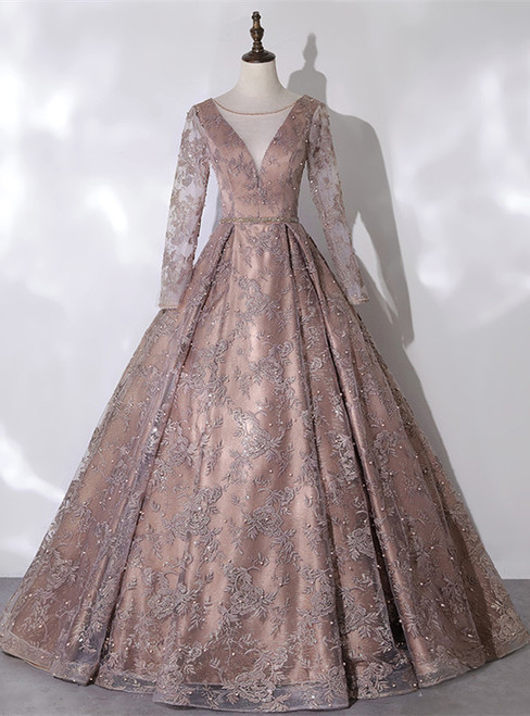 Brown Tulle Long Sleeve Pearls Embroidery Quinceanera Dress