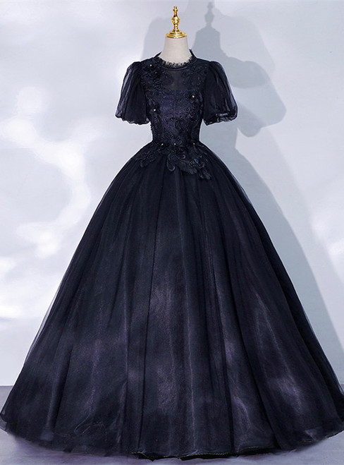 Black Tulle Puff Sleeve Backless Appliques Quinceanera Dress
