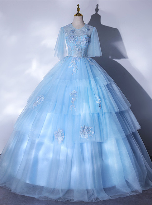Sky Blue Tulle Short Sleeve Appliques Backless Quinceanera Dress