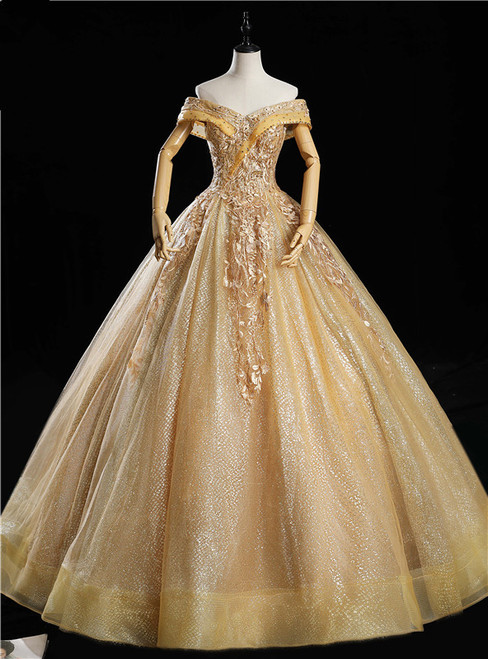 Gold Tulle Off the Shoulder Appliques Beading Quinceanera Dress