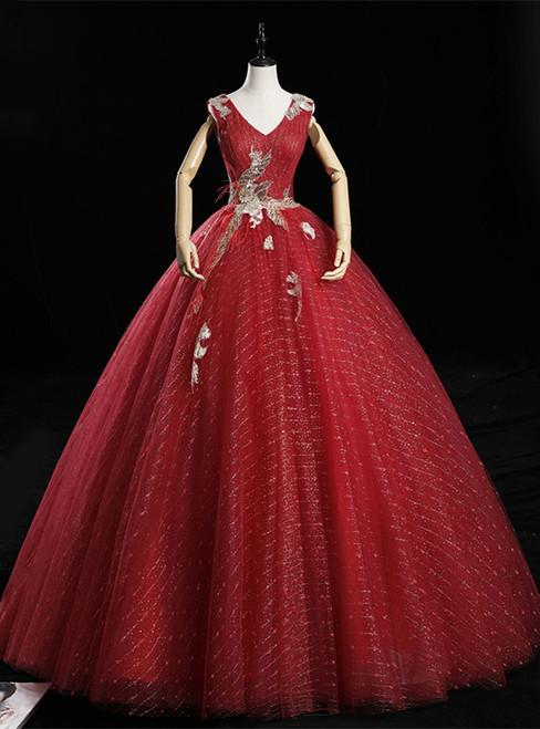 Dark Red Tulle Sequins V-neck Appliques Quinceanera Dress