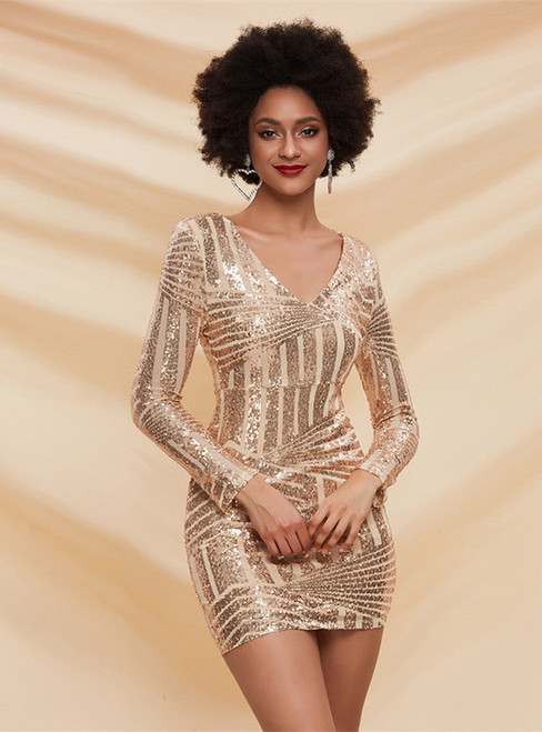 In Stock:Ship in 48 Hours Gold Sequins V-neck Mini Party Dress