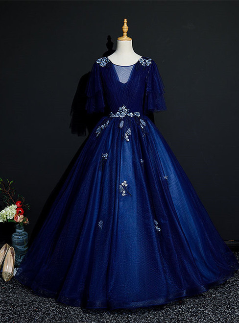 Navy Blue Tulle Appliques Short Sleeve Quinceanera Dress