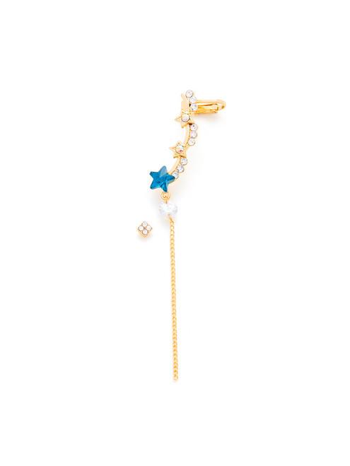 Rhinestone Star & Chain Design Earring Set 2pcs