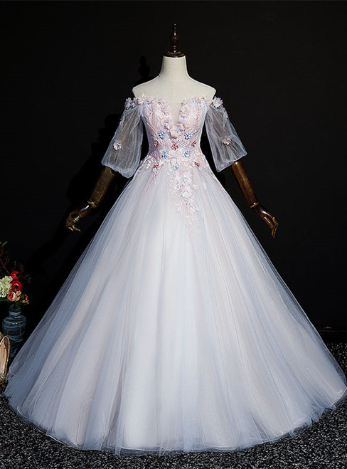 Pink Tulle Off the Shoulder Short Sleeve Appliques Quinceanera Dress