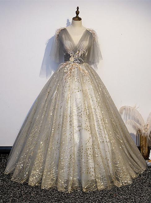 Gray Tulle Sequins V-neck Appliques Pleats Quinceanera Dress