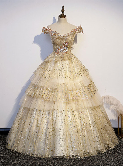 Gold Tulle Sequins Off the Shoulder Quinceanera Dress