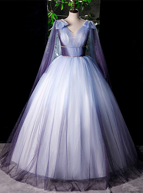 Purple Ball Gown Tulle V-neck Beading Quinceanera Dress