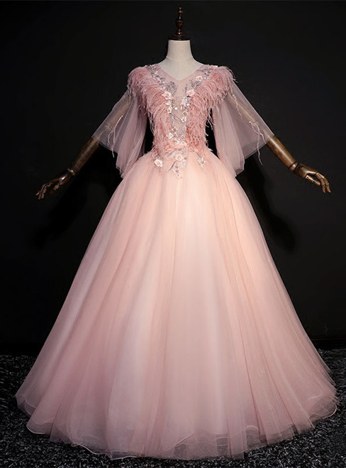 Pink Tulle V-neck Short Sleeve Feather Appliques Quinceanera Dress