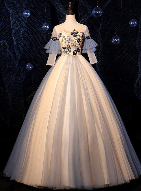 Champagne Blue Tulle Short Sleeve Backless Appliques Quinceanera Dress