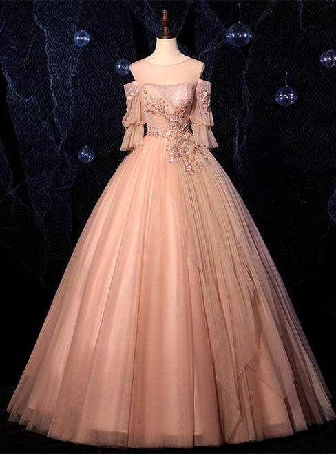 Champagne Pink Tulle Short Sleeve Appliques Beading Quinceanera Dress