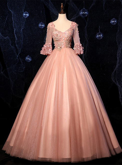 Pink Tulle V-neck Short Sleeve Appliques Quinceanera Dress
