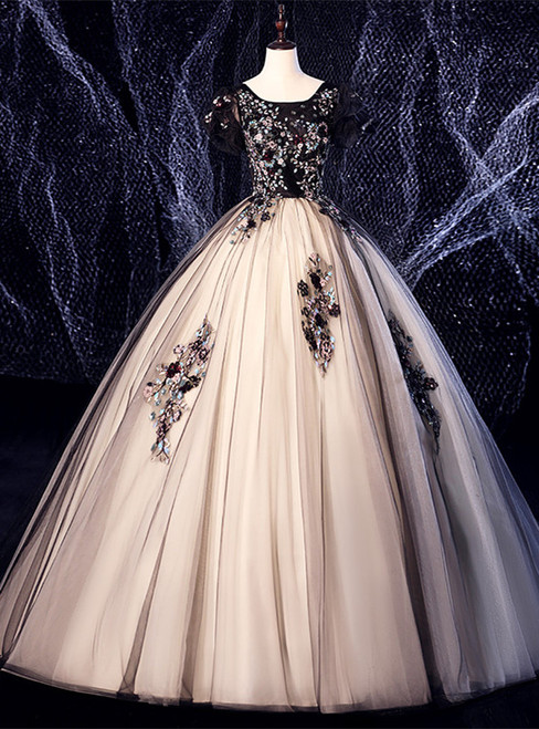 Black Tulle Appliques Puff Sleeve Quinceanera Dress