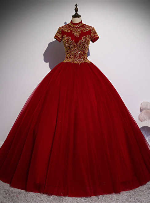 Burgundy Tulle High Neck Short Sleeve Quinceanera Dress