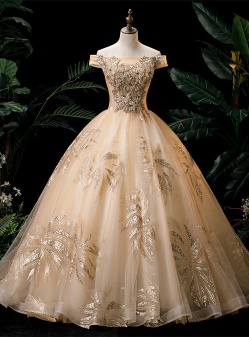 Gold Tulle Sequins Off the Shoulder Appliques Quinceanera Dress