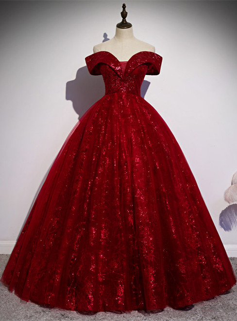 Burgundy Tulle Sequins Off the Shoulder Quinceanera Dress