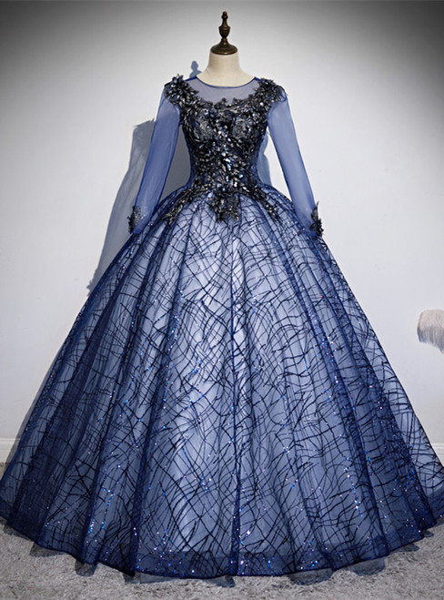 Navy Blue Tulle Sequins Long Sleeve Appliques Quinceanera Dress