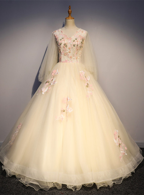 Champagne Tulle V-neck Long Sleeve Appliques Beading Quinceanera Dress
