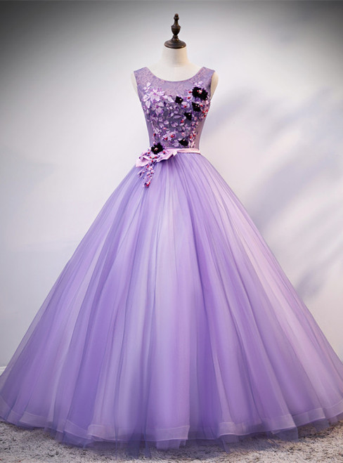Purple Tulle Appliques Beading Quinceanera Dress