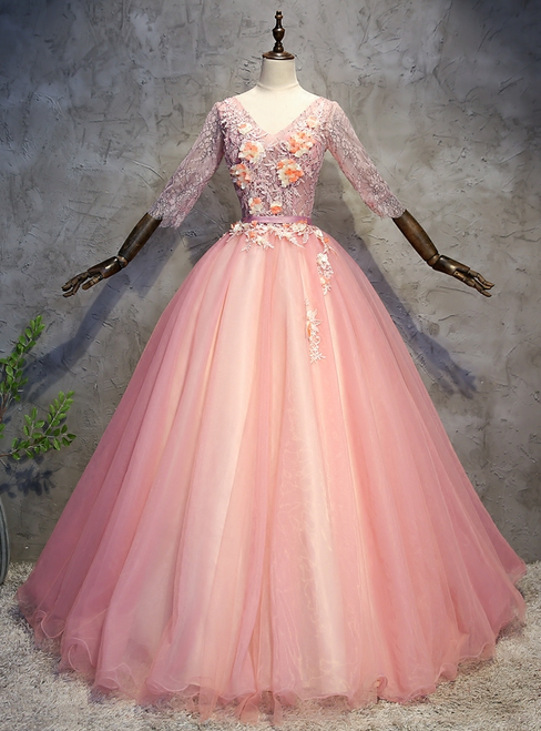 Pink Tulle Lace V-neck Short Sleeve Appliques Quinceanera Dress