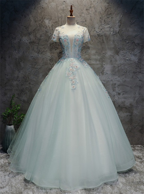 Light Blue Tulle Backless Short Sleeve Appliques Quinceanera Dress