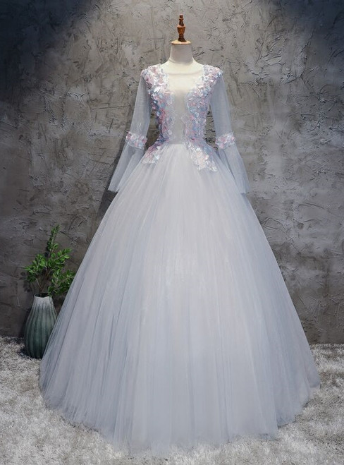 Gray Tulle Long Sleeve Backless Quinceanera Dress