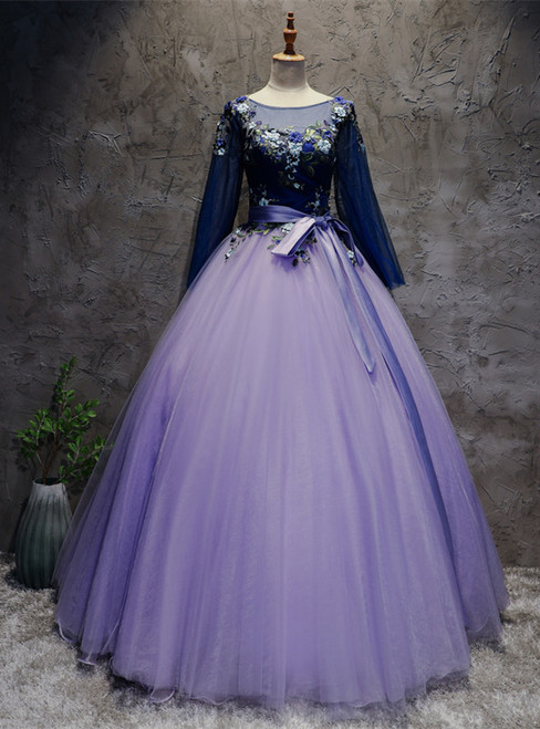 Violet Tulle Long Sleeve Appliques Quinceanera Dress