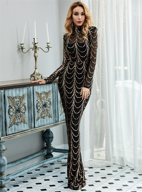 In Stock:Ship in 48 Hours Black Mermaid Gold Sequins Long Sleeve Party Dress