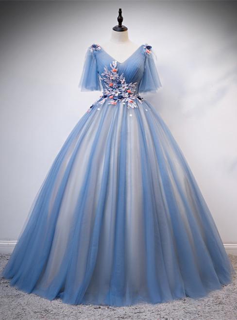 Blue Tulle V-neck Appliques Pleats Short Sleeve Quinceanera Dress