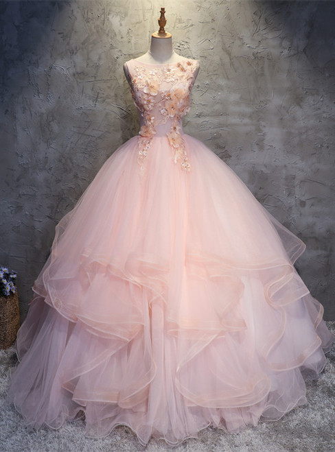 Pink Ball Gown Tulle Appliques Beading Quinceanera Dress