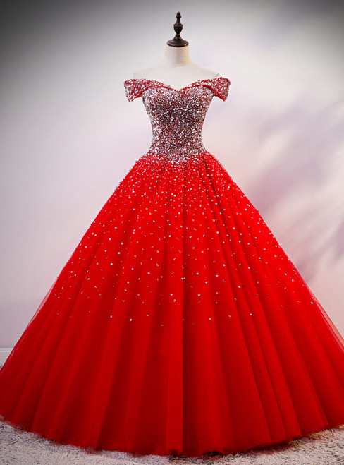 Red Tulle Off the Shoulder Beading Sequins Quinceanera Dress