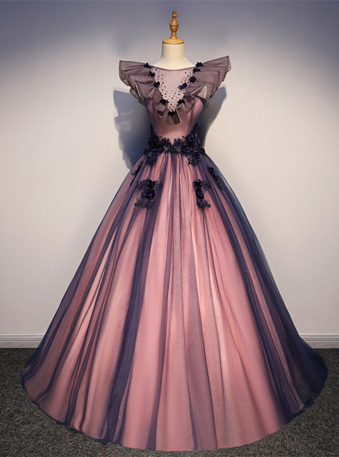 Fashion Purple Tulle Appliques Beading Quinceanera Dress