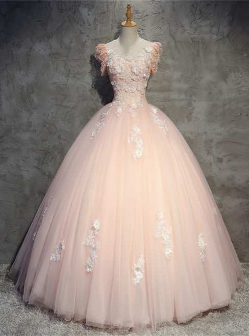 Pink Ball Gown Scoop Tulle Appliques Quinceanera Dress