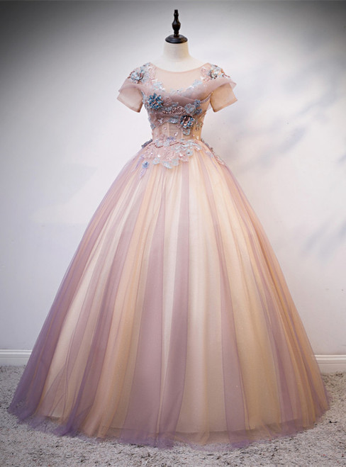 Pink Tulle Short Sleeve Appliques Pearls Quinceanera Dress