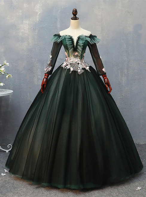 Dark Green Tulle Long Sleeve Off the Shoulder Appliques Quinceanera Dress