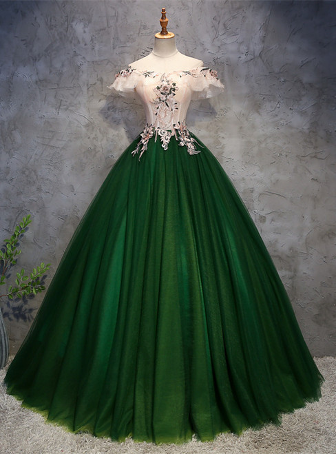Green Tulle Corset Off the Shoulder Appliques Quinceanera Dress