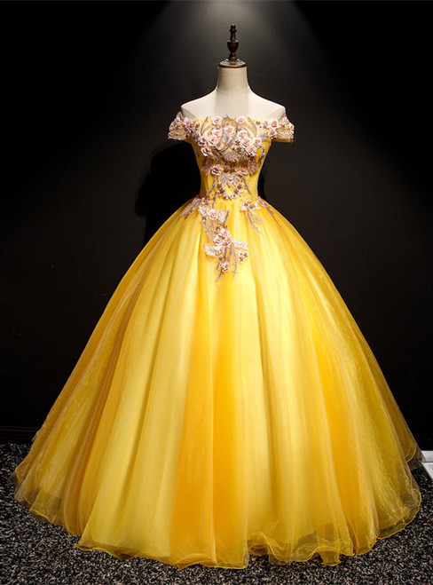 Gold Tulle Off the Shoulder Appliques Quinceanera Dress