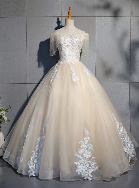 Champagne Tulle Off the Shoulder Appliques Beading Quinceanera Dress