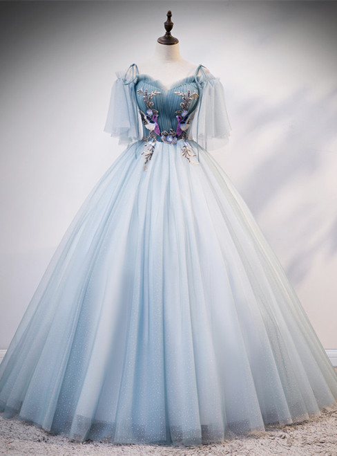 Light Blue Tulle Spagehtti Straps Short Sleeve Quinceanera Dress