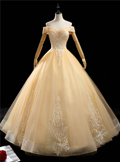 Gold Tulle Off the Shoulder Beading Appliques Quinceanera Dress