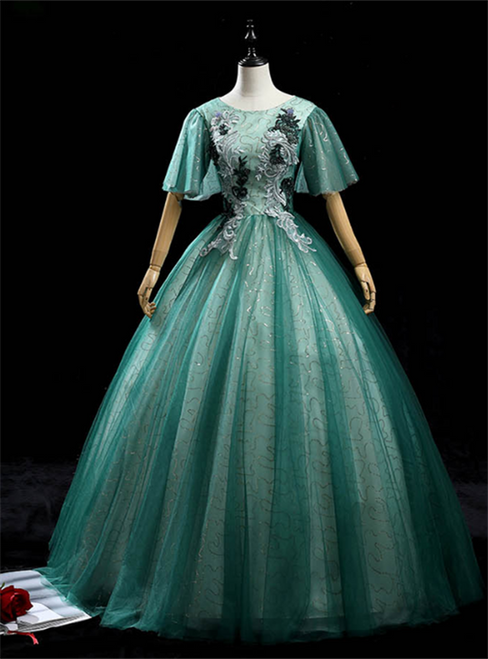 Green Tulle Sequins Short Sleeve Appliques Quinceanera Dress