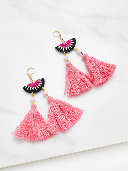 Embroidery Detail Two Tassel Drop Earrings