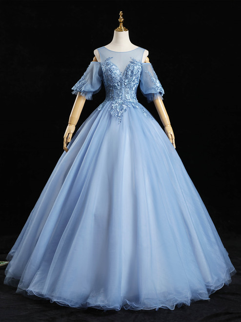 Blue Tulle Appliques Beading Short Sleeve Quinceanera Dress