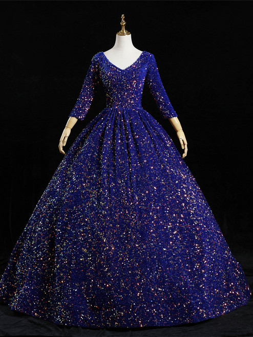 Royal Blue Sequins Long Sleeve V-neck Quinceanera Dress