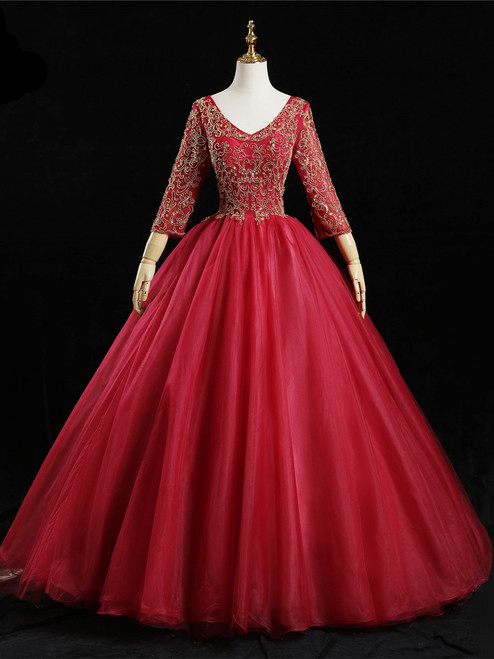 Red Tulle V-neck Long Sleeve Beading Quinceanera Dress