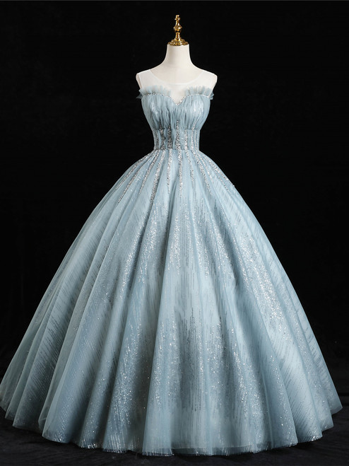 Blue Gray Ball Gown Tulle Sequins Beading Quinceanera Dress