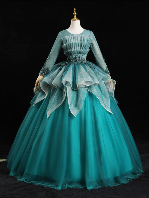 Blue Tulle Long Sleeve Pleats Appliques Beading Quinceanera Dress