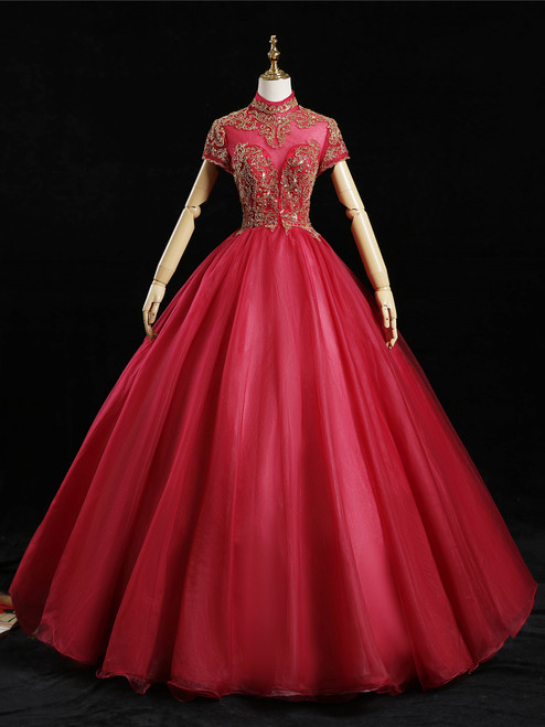 Red Tulle High Neck Cap Sleeve Beading Quinceanera Dress
