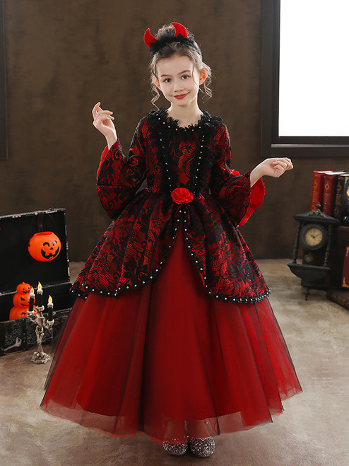 Tulle Lace Long Sleeve Rococo Baroque Victorian Dress