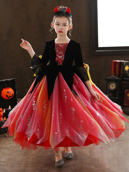 Red Tulle Long Sleeve Sequins Victorian Antonietta Dress